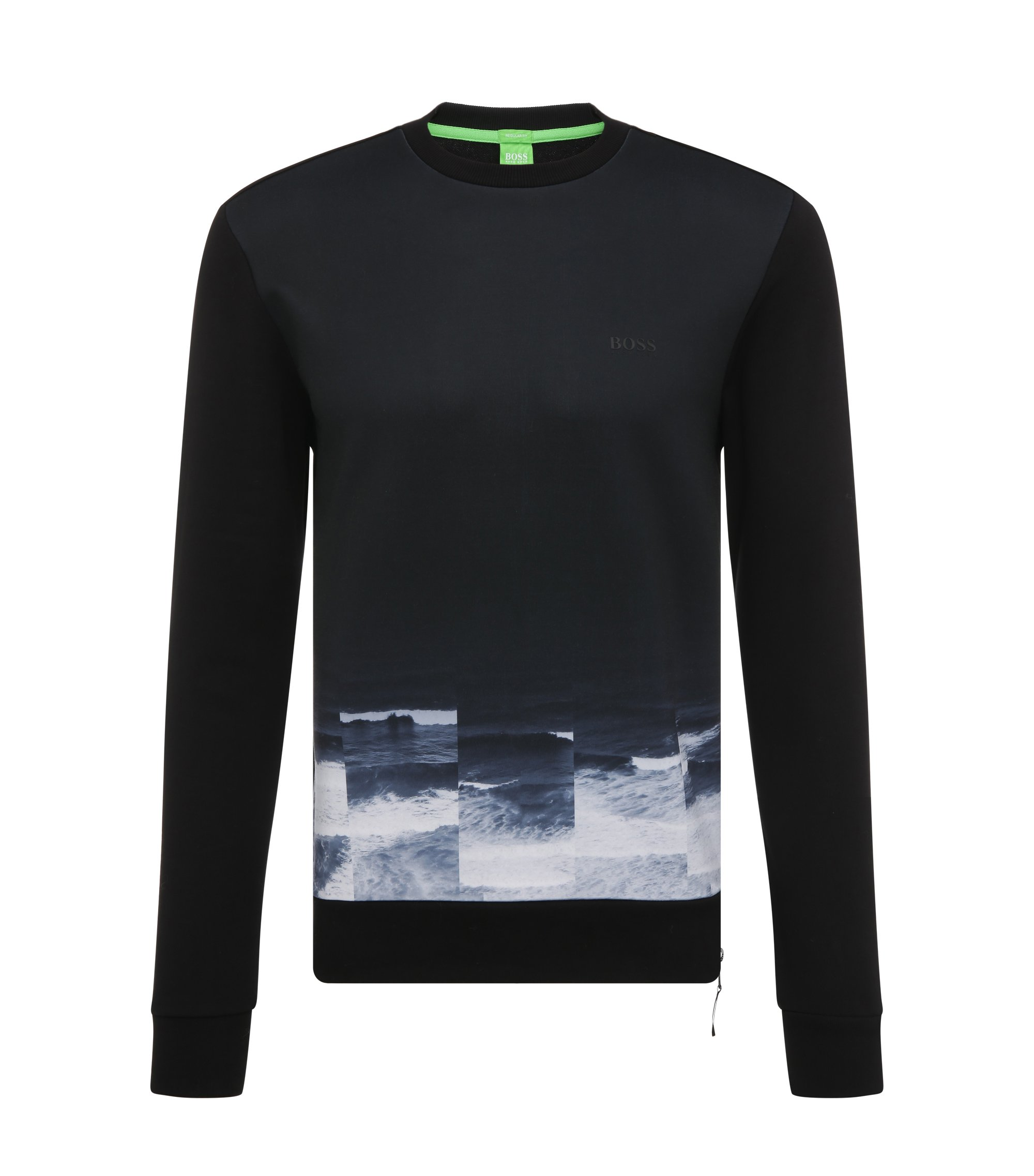 Cotton Printed Sweatshirt | Salbon, Black
