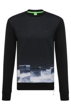 'Salbon' | Cotton Printed Sweatshirt, Black
