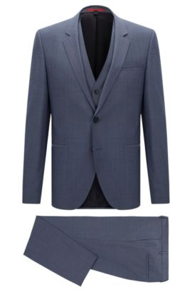 Italian Virgin Wool 3-Piece Suit, Slim Fit | Arvon/Wiant/Hilwert, Blue