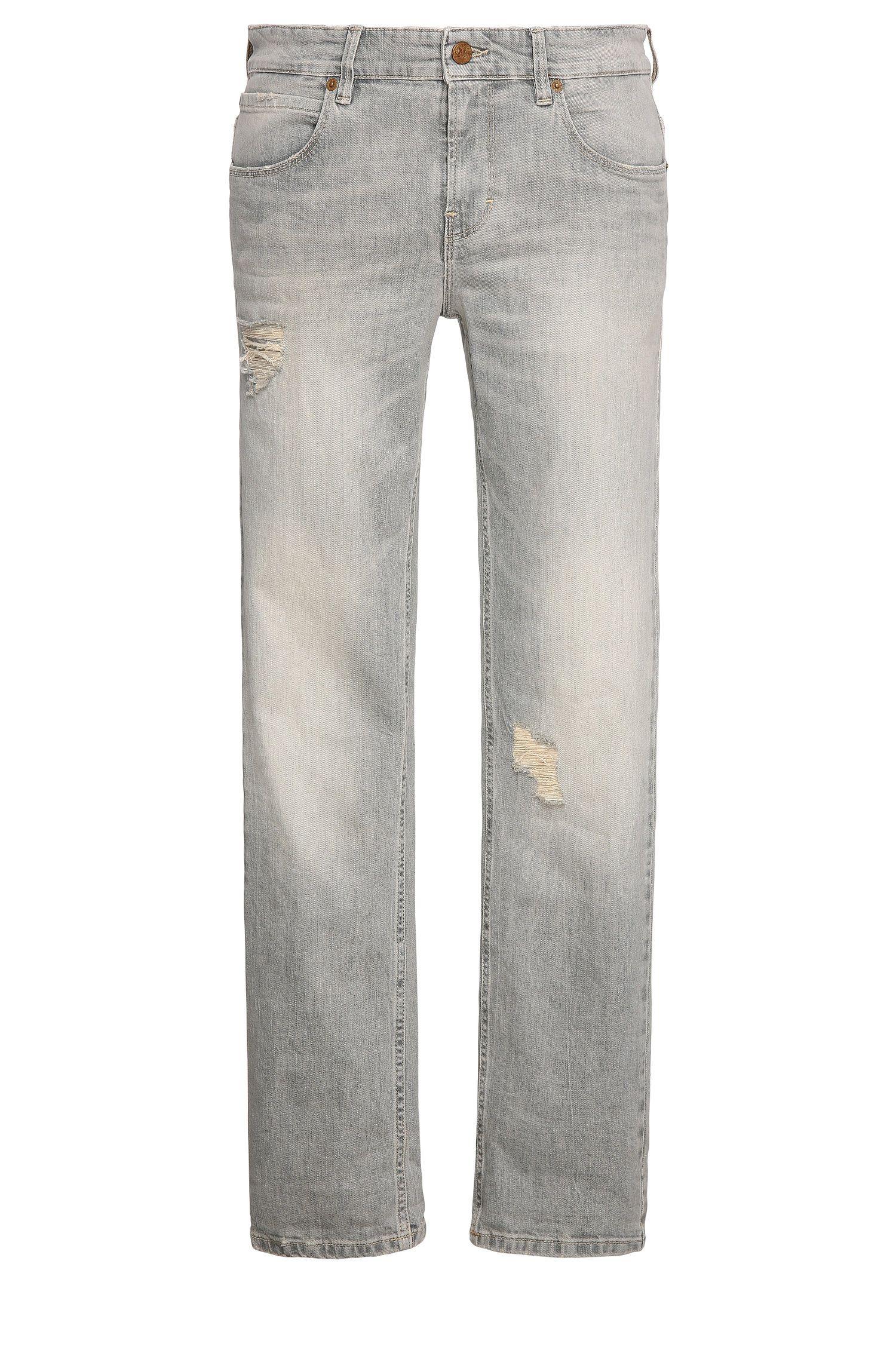 9.5 oz Distressed Stretch Cotton Jeans, Slim Fit | Orange63
