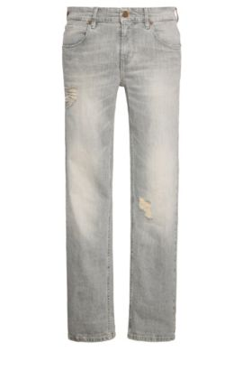 9.5 oz Distressed Stretch Cotton Jeans, Slim Fit | Orange63, Grey