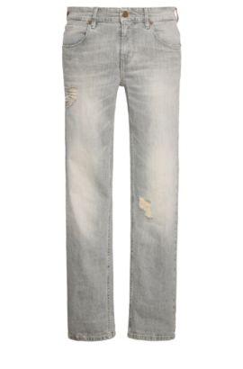 9.5 oz Distressed Stretch Cotton Jeans, Slim Fit | Orange63, Grey