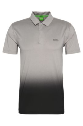Stretch Ombre Polo Shirt, Extra Slim Fit | Plyotech, Light Grey