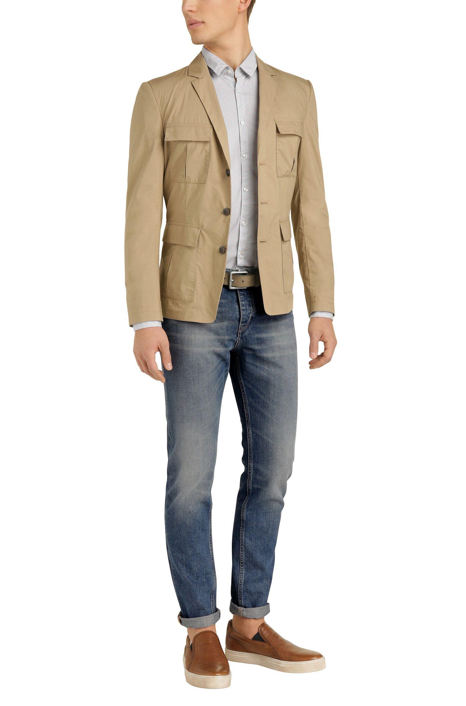 Cotton Blend Jean, Slim Fit | Orange90