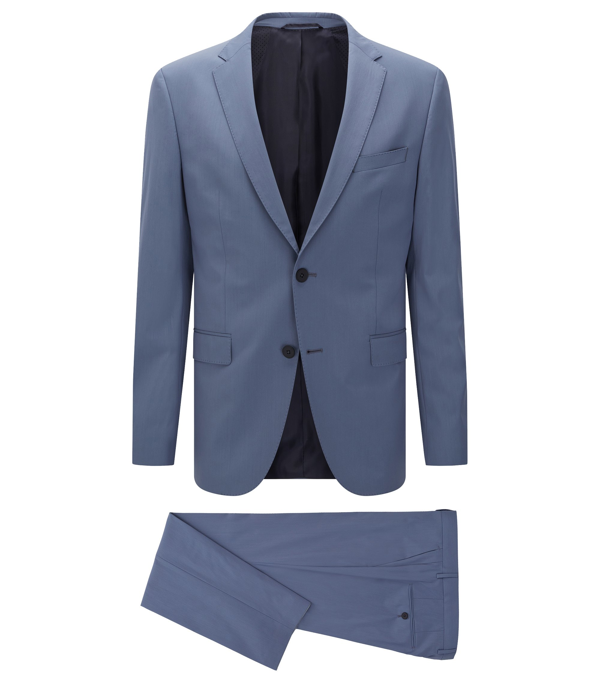 Stretch Virgin Wool Blend Travel Suit, Slim Fit | Nestro/Byte, Open Blue