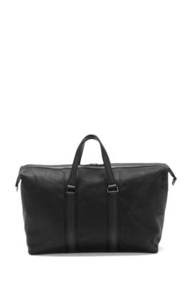 'Future_Holdall' | Leather Weekender with Textile Trim, Black
