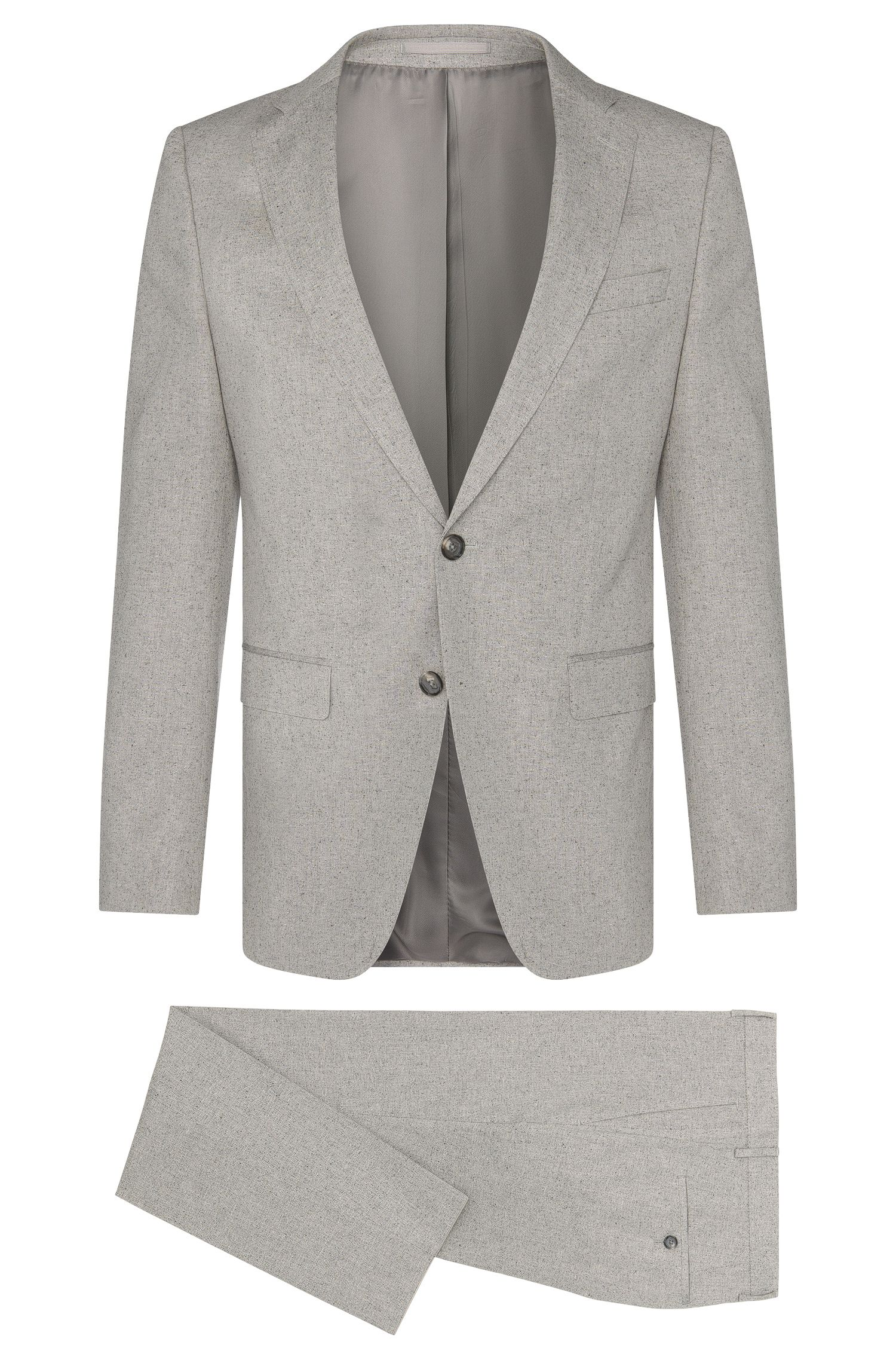 Heather Cotton Silk Suit, Slim Fit | Novan/Ben