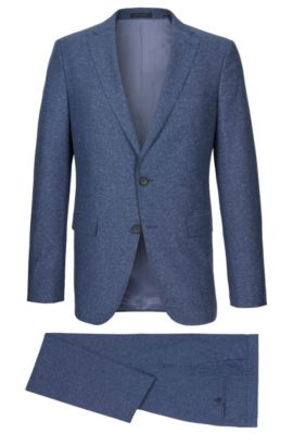 Heather Cotton Silk Suit, Slim Fit | Novan/Ben, Blue
