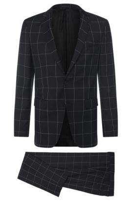 Windowpane Super 100 Virgin Wool Suit, Slim Fit | Novan/Ben, Black