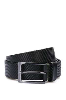 'Titching Sz Itst' | Leather Topstitched Belt, Black