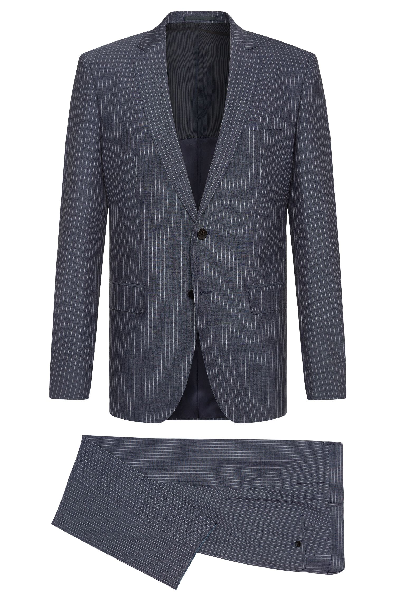 Pinstripe Italian Super 120 Virgin Wool Suit, Slim Fit | Huge/Genius