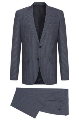 Pinstripe Italian Super 120 Virgin Wool Suit, Slim Fit | Huge/Genius, Blue