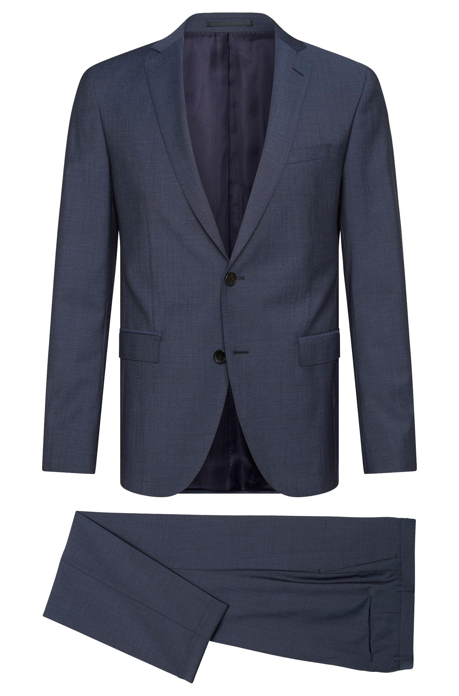 Virgin Wool-Mohair Blend Suit, Extra-Slim Fit | Reyno/Wave, Dark Blue