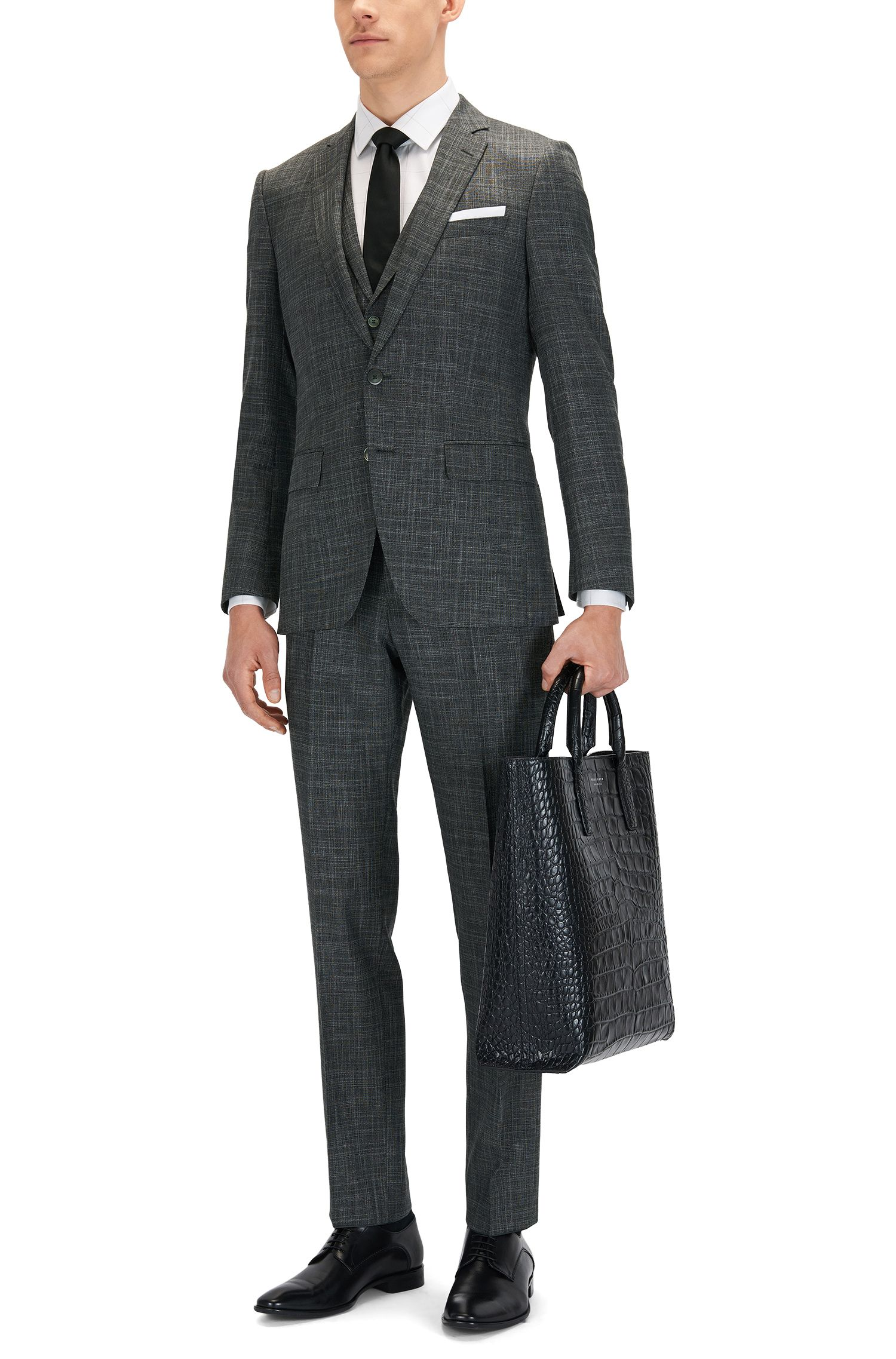 Stretch Wool Blend 3-Piece Suit, Slim Fit | Hutson/Gander WE, Charcoal
