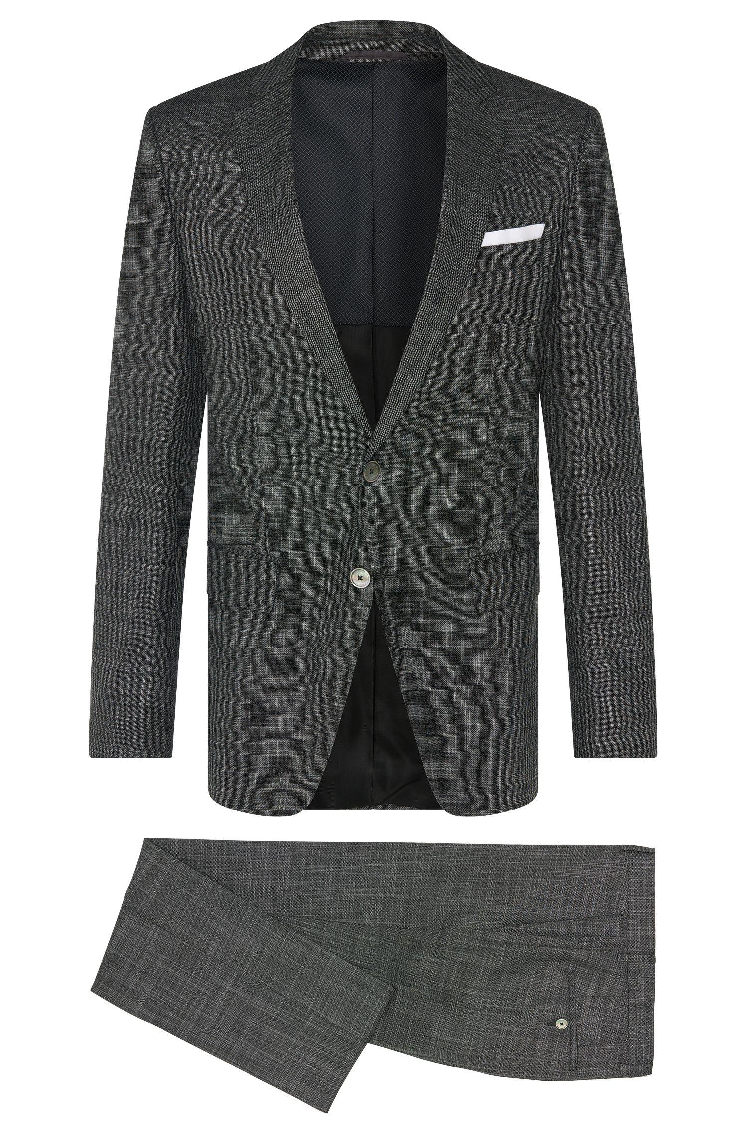Crosshatch Virgin Wool Blend 3-Piece Suit, Slim Fit | Hutson/Gander WE