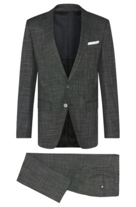 Crosshatch Virgin Wool Blend 3-Piece Suit, Slim Fit | Hutson/Gander WE, Charcoal