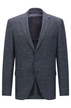 'Jestor' | Regular Fit, Virgin Wool Cotton Linen Sport Coat, Dark Blue