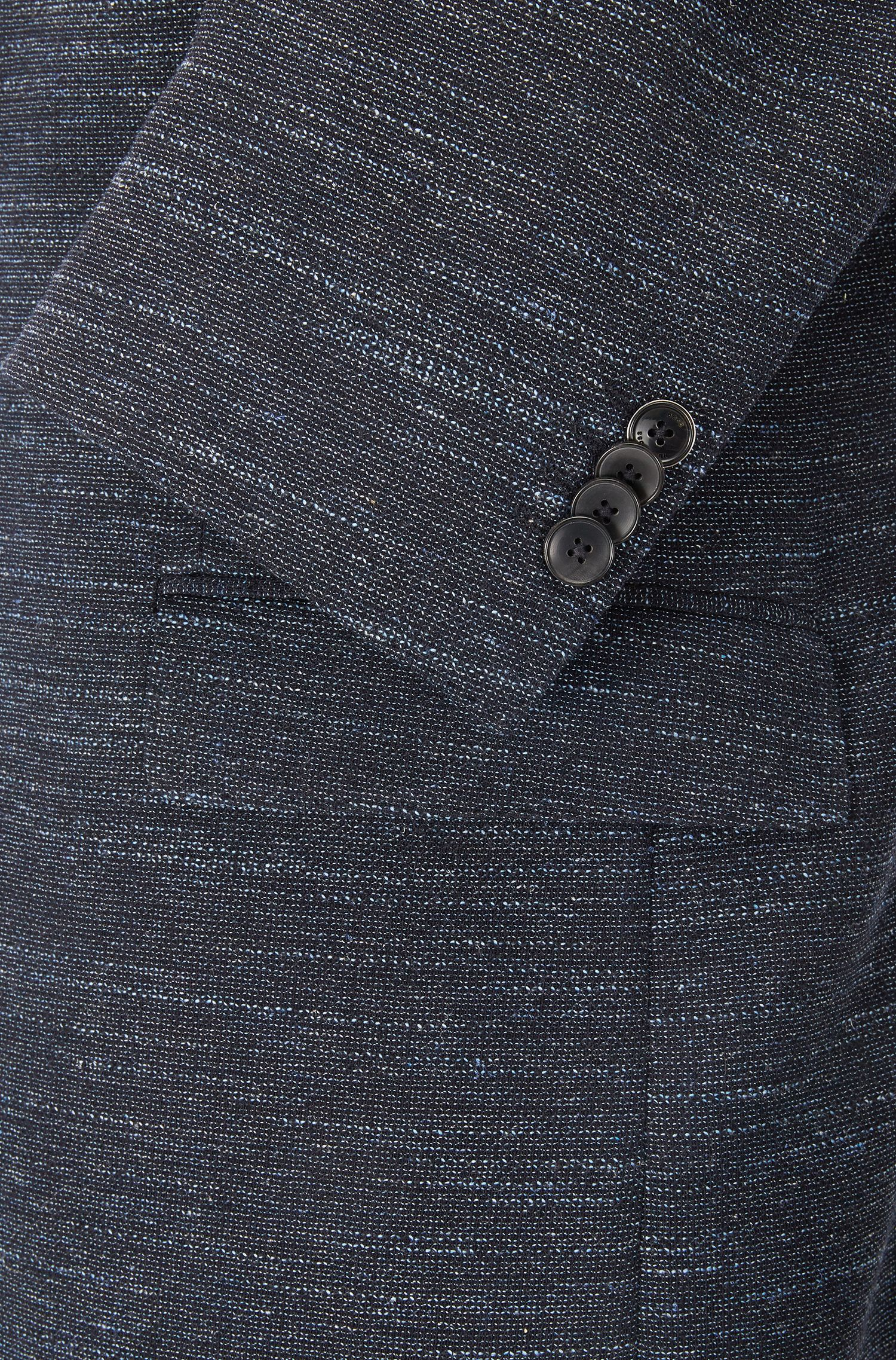 Virgin Wool Cotton Linen Sport Coat, Regular Fit | Jestor, Dark Blue