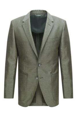 'T-Hanley' | Slim Fit, Linen Cotton Silk Blend Sport Coat, Dark Green