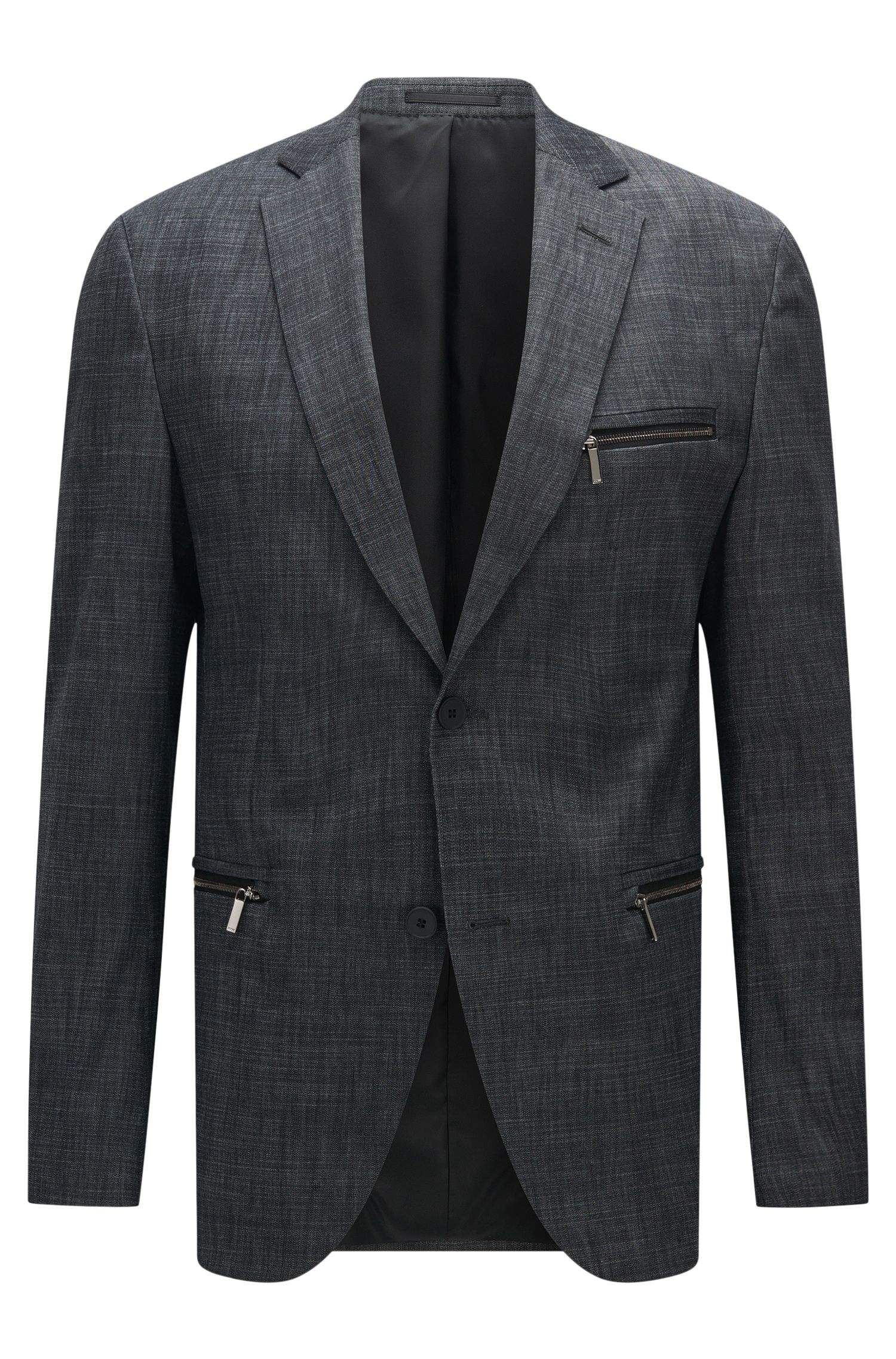 Stretch Cotton Blend Patterned Blazer, Extra Slim Fit | Ronen
