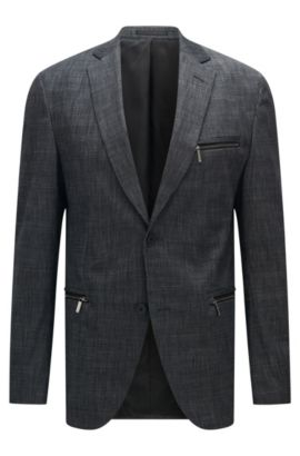 Stretch Cotton Blend Patterned Blazer, Extra Slim Fit | Ronen, Charcoal