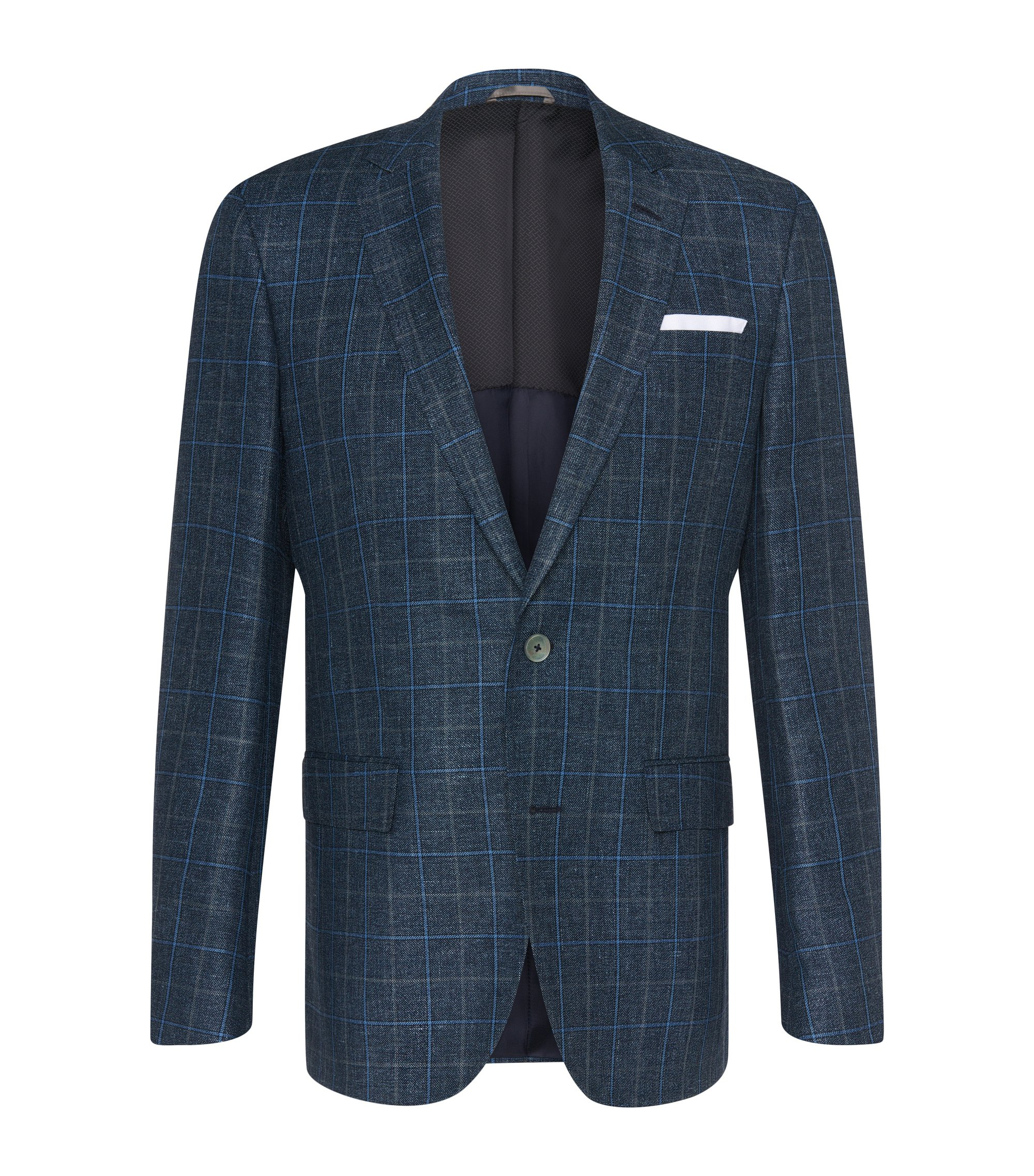 Italian Linen Virgin Wool Sport Coat, Slim Fit | Hutsons, Dark Blue