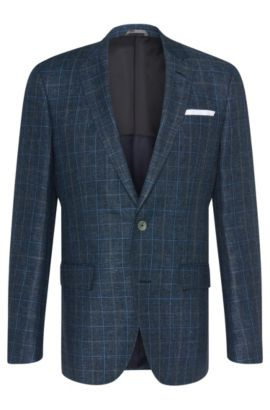 'Hutsons' | Slim Fit, Italian Linen Virgin Wool Sport Coat, Dark Blue