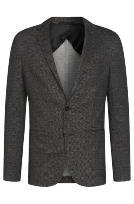 'Norwin' | Slim Fit, Jersey Patterned Sport Coat, Black