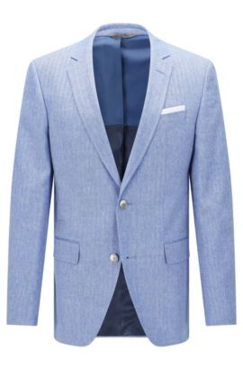 'Hutsons' | Slim Fit, Italian Virgin Wool Linen Sport Coat, Blue