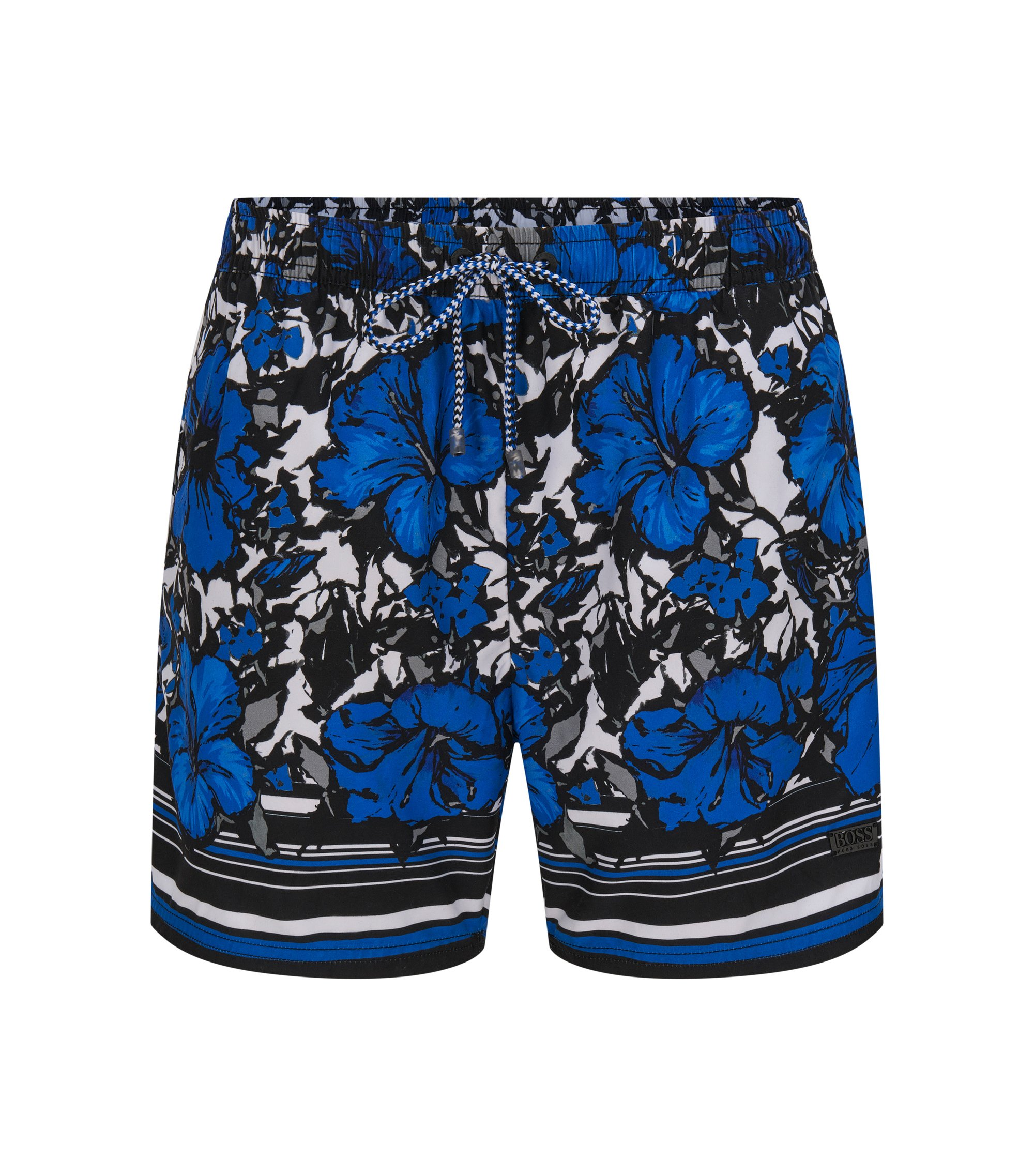 Quick Dry Patterned Swim Trunks | Piranha, Open Blue