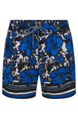 'Piranha' | Quick Dry Patterned Swim Trunks, Open Blue
