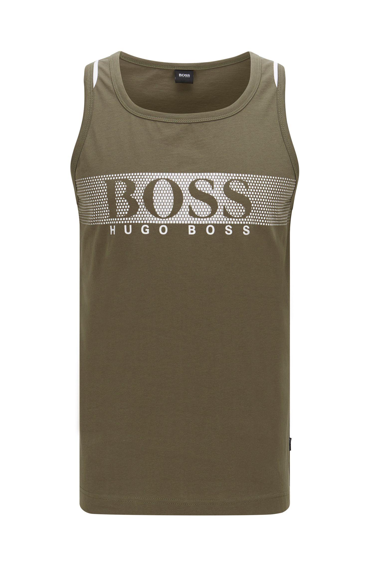 Cotton Jersey Tank Top with Logo Print | Beach Tank Top