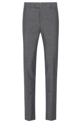 'T-Gary' | Slim Fit, Italian Wool Cotton Silk Linen Dress Pants, Grey
