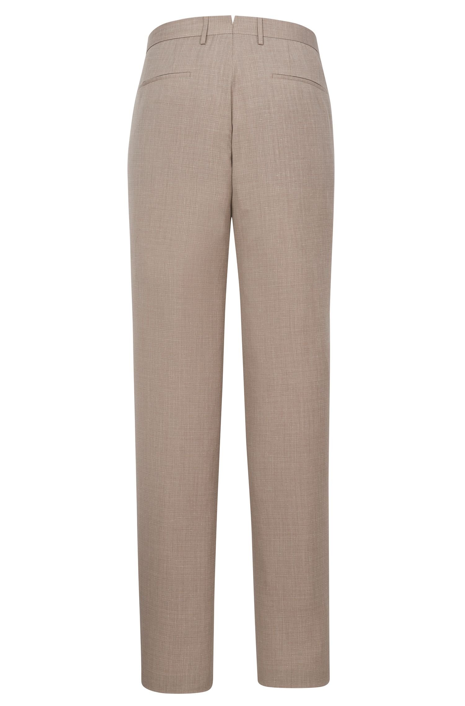 Italian Wool Cotton Silk Linen Dress Pant, Slim Fit | T-Gary, Open Beige