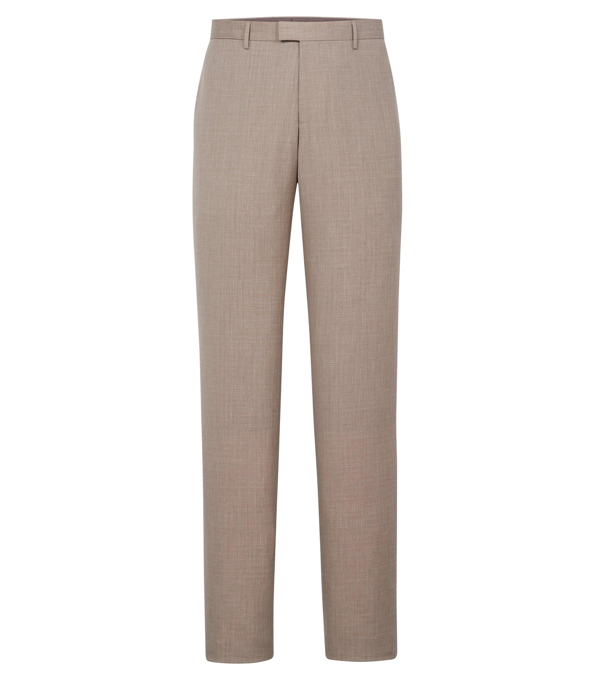Italian Wool Cotton Silk Linen Dress Pant, Slim Fit | T-Gary, Open Beige