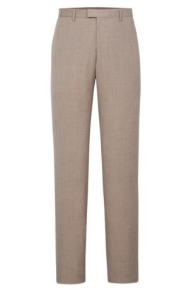 'T-Gary' | Slim Fit, Italian Wool Cotton Silk Linen Dress Pants, Open Beige
