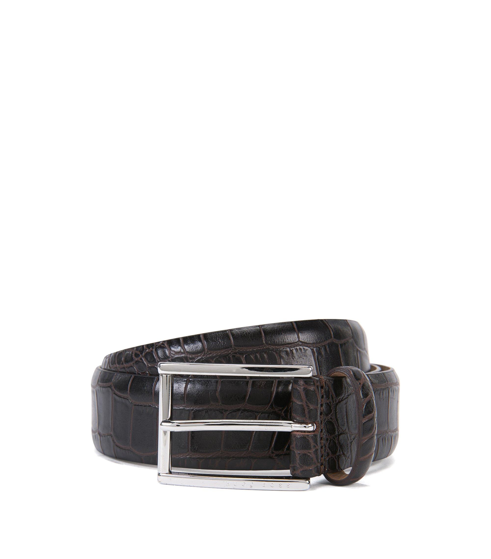 Italian Patent Leather Belt | T-Lelion, Dark Brown