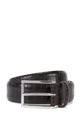 'T-Lelion' | Italian Patent Leather Belt, Dark Brown