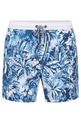 'Mandarinfish' | Quick Dry Drawstring Swim Trunks, Open Blue