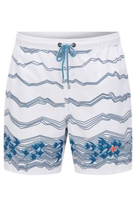 'Anemonefish' | Quick Dry Swim Trunks, Open White