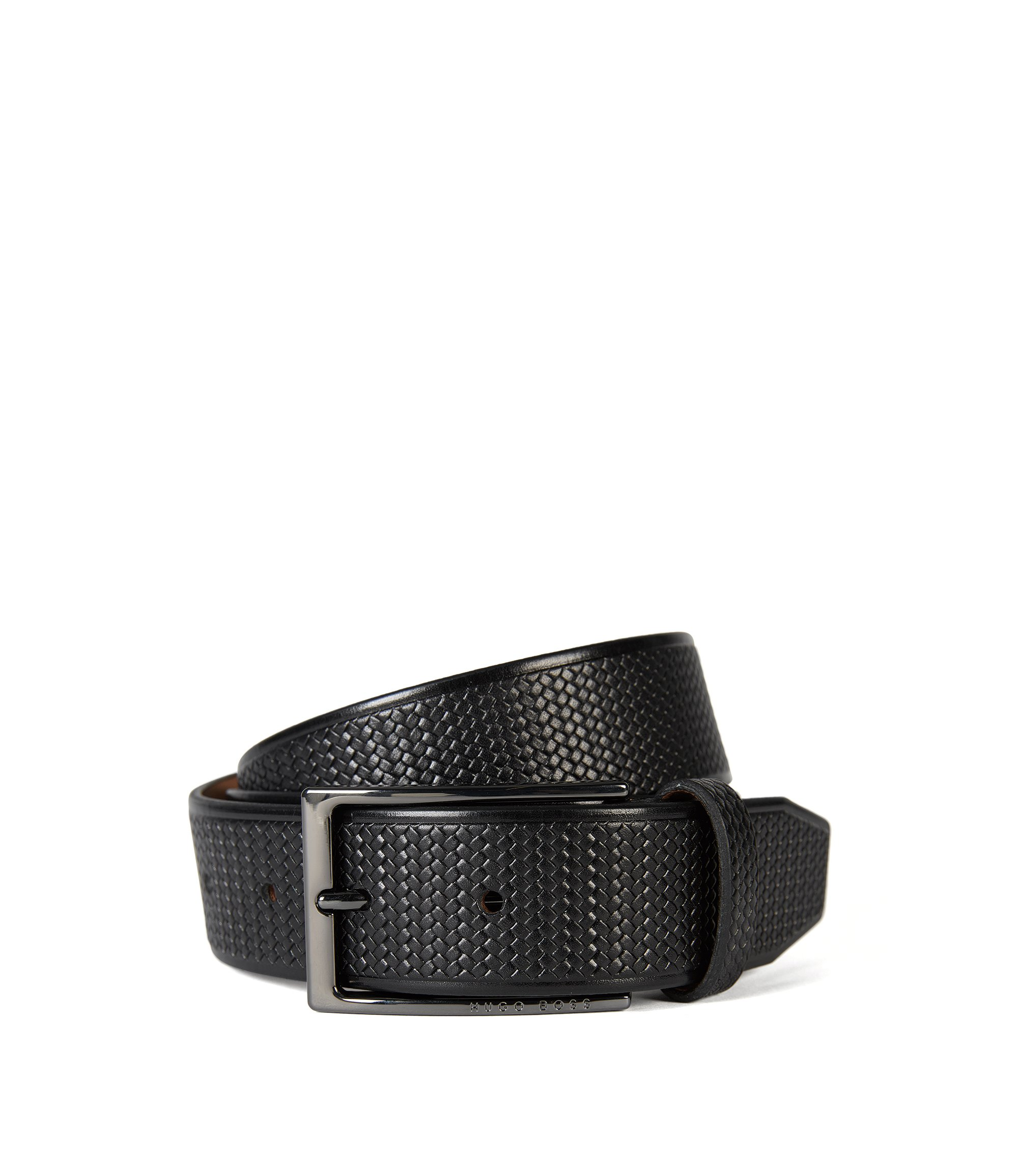 Italian Leather Braided Belt | Claux Sz35 Item, Black