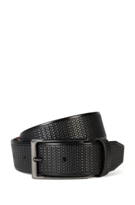 'Claux Sz35 Item' | Italian Leather Braided Belt, Black