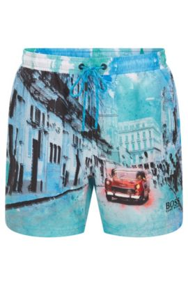 'Springfish' | Quick Dry Swim Trunks, Open Blue