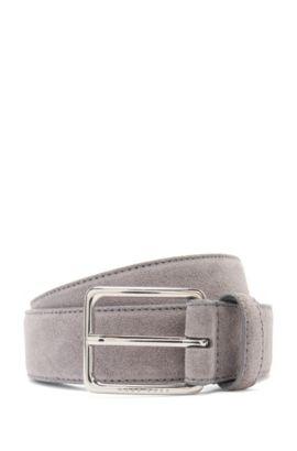 'Catioso Sz Sdpl' | Suede Leather Belt, Open Grey