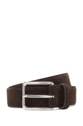 'Catioso Sz Sdpl' | Suede Leather Belt, Dark Brown