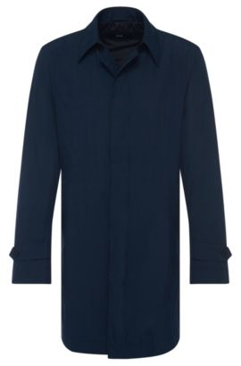 'Garret' | Nylon Blend Packable Water-Repellent Car Coat, Dark Blue