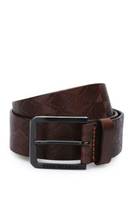 'Jeremyo Sz40 ltem' | Leather Embossed Belt, Dark Brown