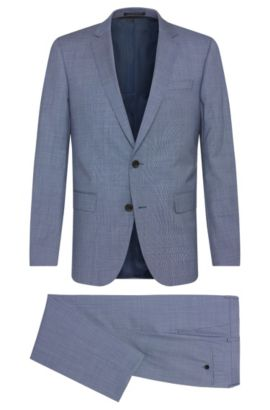 Basketweave Italian Super 130 Virgin Wool Suit, Slim Fit | Huge/Genius, Blue