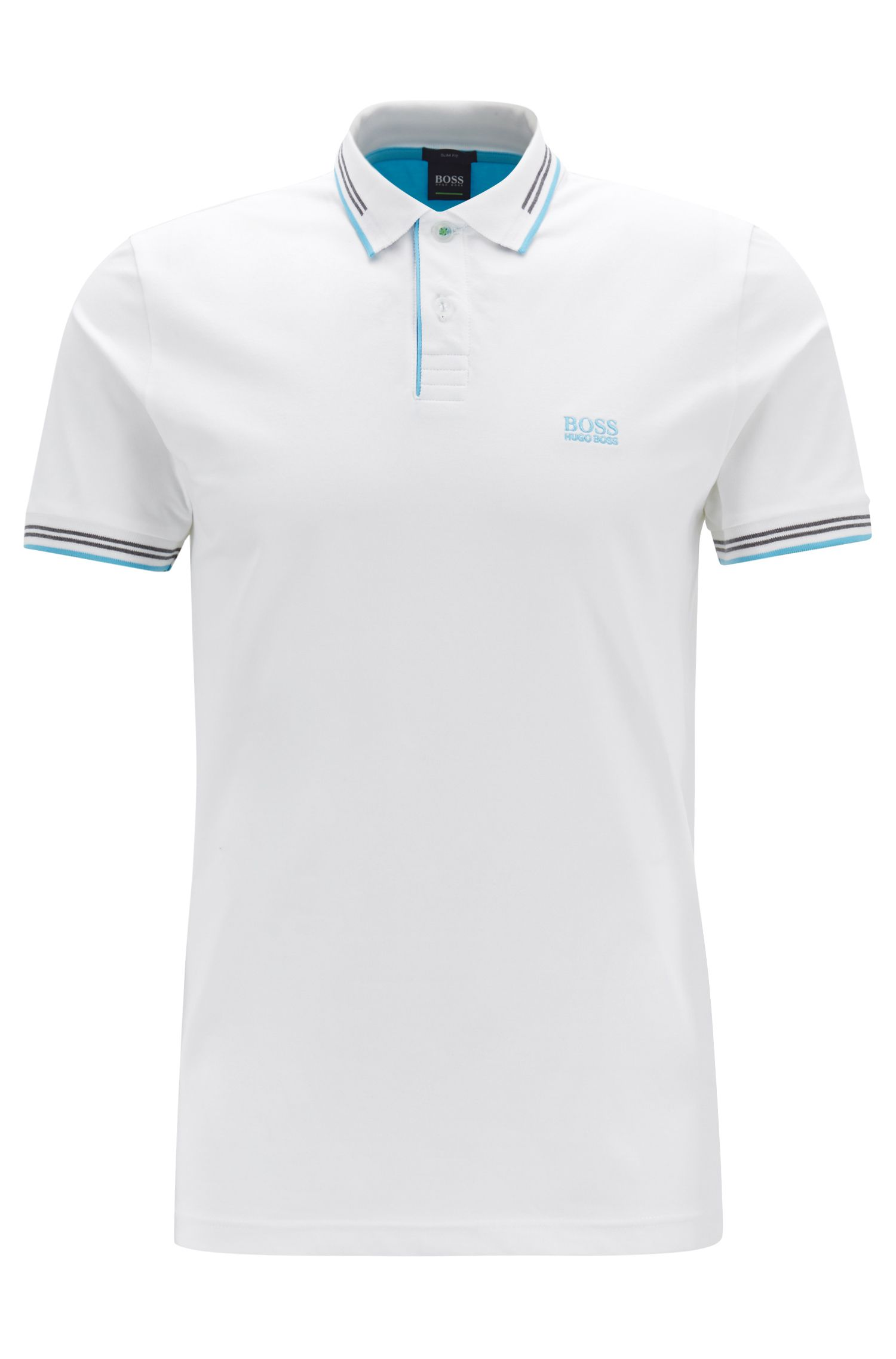 Slim-fit stretch-cotton polo shirt with contrast tipping, Natural