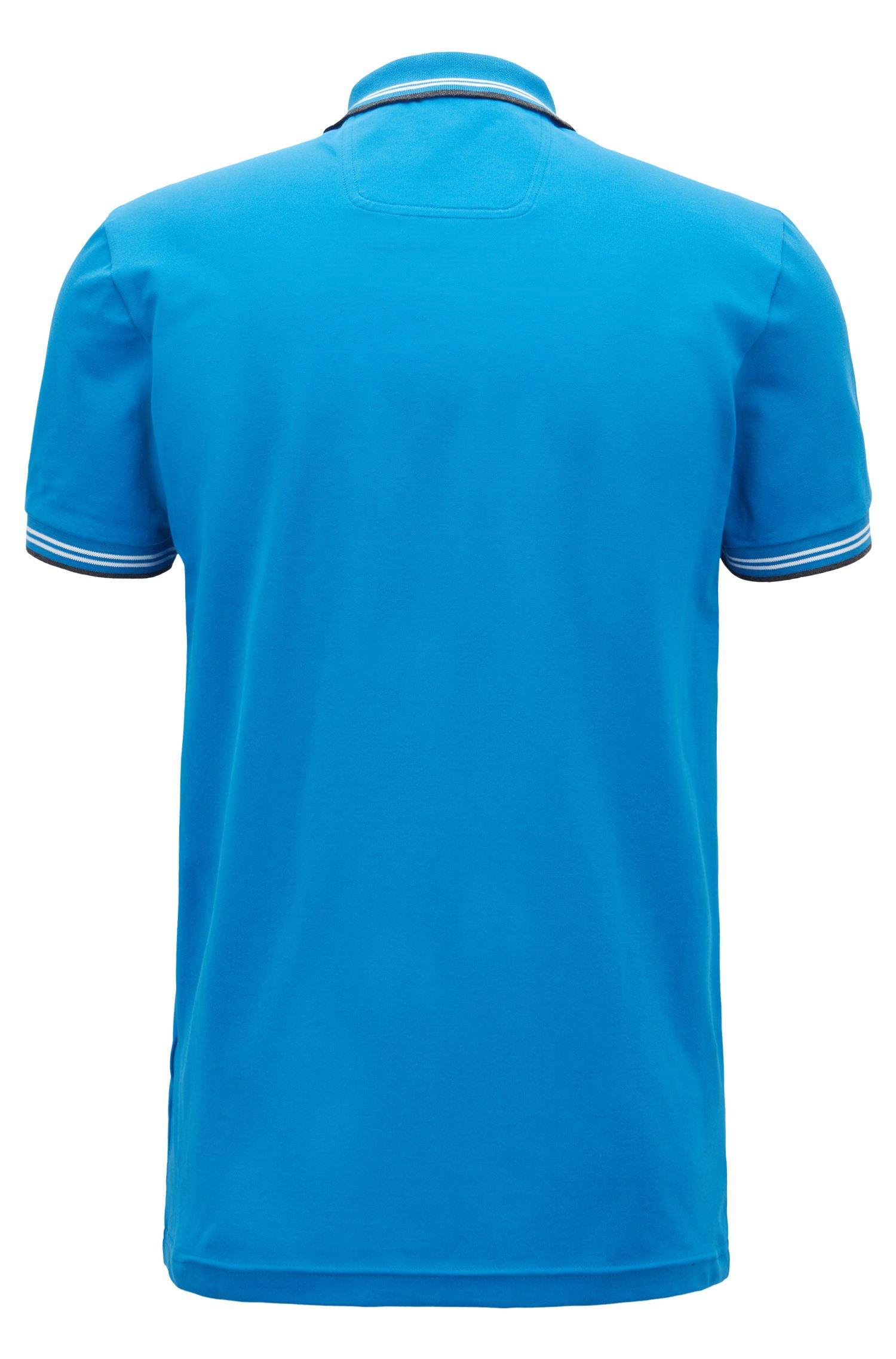 Slim-fit stretch-cotton polo shirt with contrast tipping, Blue